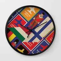 travel poster Wall Clocks featuring EU Travel Poster by Thefunctionalfox