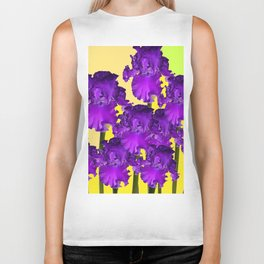 Yellows Contemporary Purple Iris Garden Art Biker Tank