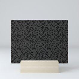Deep Gray Leopard Pattern Mini Art Print
