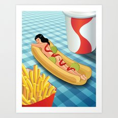 Hot Dog Girl Art Print