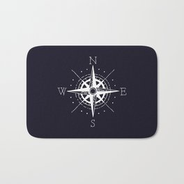 Navy Nautical - White Compass Bath Mat