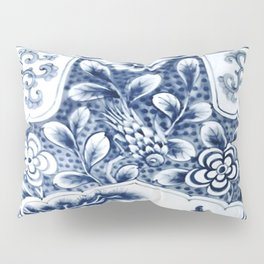 Blue & White Chinoiserie Cranes Porcelain Ginger Jar Pillow Sham