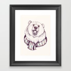 Bear & Scarf Framed Art Print