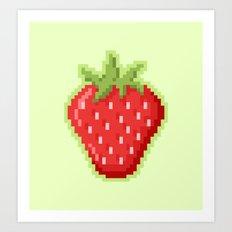 Pixel Strawberry Art Print