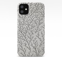 Berry Branches – Silver & Black iPhone Case