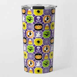 Halloween Pattern - Ghosts, Skulls, Flying Witches, Bats, Spiders, Pumpkins, Candy Corn Travel Mug