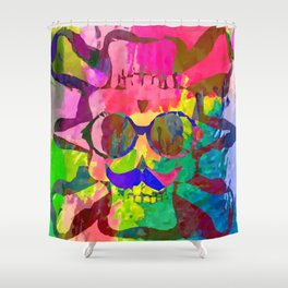 old vintage funny skull art portrait with painting abstract background in red pink yellow green blue Shower Curtain