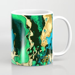 Gold green and black Marble texture acrylic paint art Coffee Mug