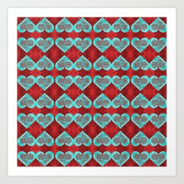 Abstract Turquoise and Bright Red Diamond Hearts Art Print