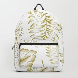 Tropical Leaves - Gold Backpack