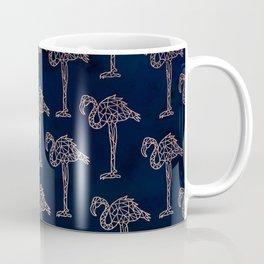 Tropical rose gold geometric flamingo pattern on navy blue watercolor Coffee Mug
