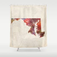 maryland Shower Curtains featuring Maryland by MapMapMaps.Watercolors