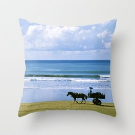 Costa Rica: Horse-Drawn Wagon On Beach Throw Pillow