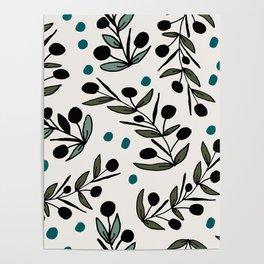 Floral blue Poster