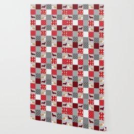 Corgi Patchwork Print - red, dog, buffalo plaid, plaid, mens corgi dog Wallpaper