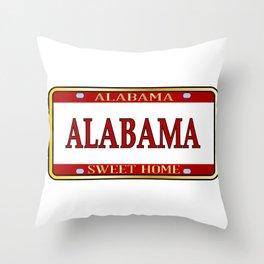 Alabama State Name License Plate Throw Pillow