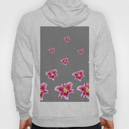 STRAWBERRY COLORED ASIAN LILIES GREY ART Hoody