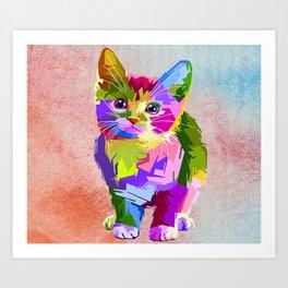 A Colorful Cat Art Print