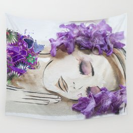 floral bugambilia woman Wall Tapestry