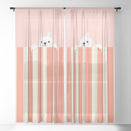 Abstraction_Little_Cat_Cute_Minimalism_001 Sheer Curtain