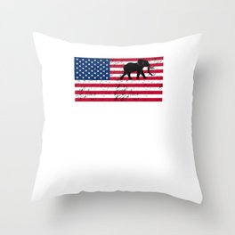 Elephant Patriotic American Flag Throw Pillow