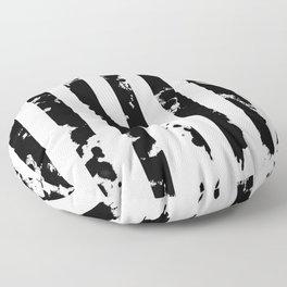 Splatter Bars - Black ink, black paint splats in a stripey stripy pattern Floor Pillow