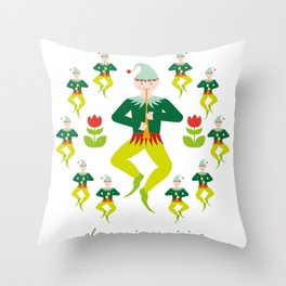 12 Days of Christmas - Eleven Pipers Piping Throw Pillow