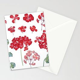 Collection of vector geranium flowers for design in red color  Stationery Cards