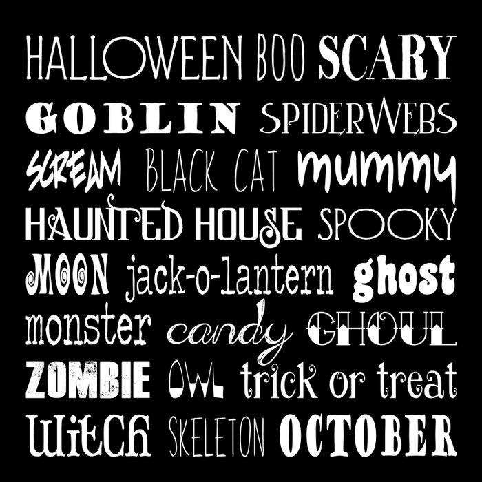 Halloween Typography Black Comforters