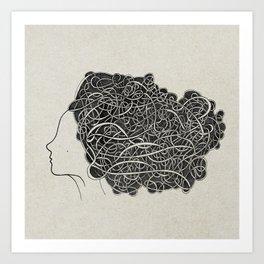 Amanda with curly grey hair Art Print