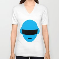 deadmau5 V-neck T-shirts featuring Daft Punk Thomas Bangalter Helmet by Alli Vanes