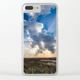 Explosion - Sunbeams Burst From Behind Storm Cloud in Kansas Clear iPhone Case
