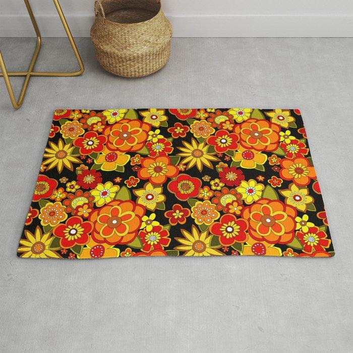 Super Groovy Flowers Black Base Orange Rug By Yesterdaypeople