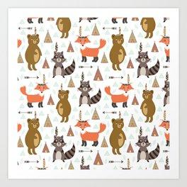Bohemian orange brown forest animal arrows tribal pattern Art Print