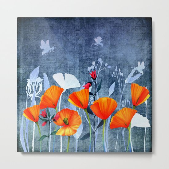 Summer night- Shadow of a Poppy meadow- Flowers on #Society6 Metal Print