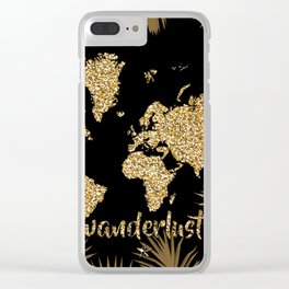 world map gold black Clear iPhone Case