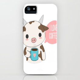 Cute Cow Drinking Coffee iPhone Case