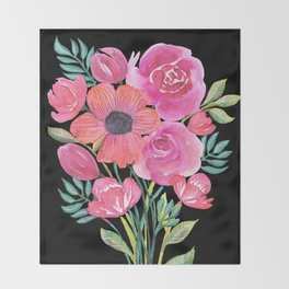 Pink Bouquet on Black Throw Blanket