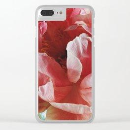 Peach Peony II Clear iPhone Case