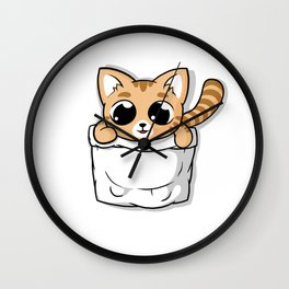 Cute Orange Pocket Cat Wall Clock