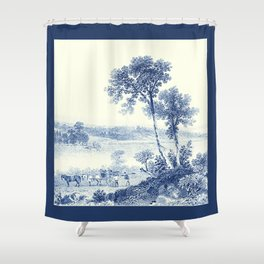 Lake Champlain 1850 (Cyanotype) Shower Curtain