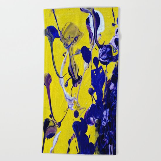 Ultra Violet Blue Yellow Abstract Paint Beach Towel