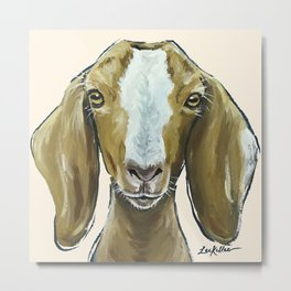 Goat Painting, Farm Animal Art Metal Print