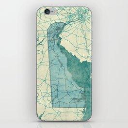 Delaware State Map Blue Vintage iPhone Skin