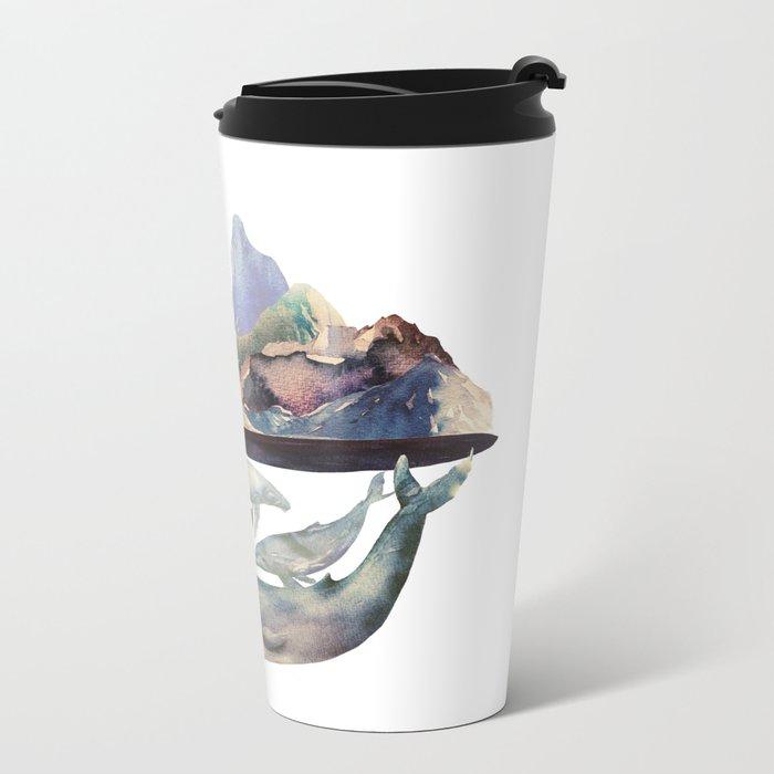 mountain and whales Metal Travel Mug
