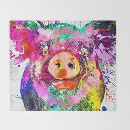 Pig Watercolor Grunge Throw Blanket