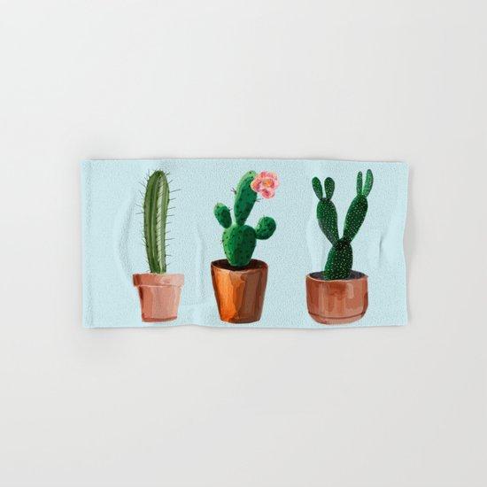 Three Cacti On Light Blue Background Hand & Bath Towel