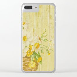 Daffodil Flowers in Basket on Wood Background Clear iPhone Case