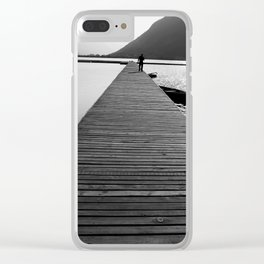 Wooden lake pier Clear iPhone Case