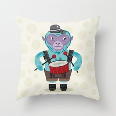 The Monkey Drummer Throw Pillow
